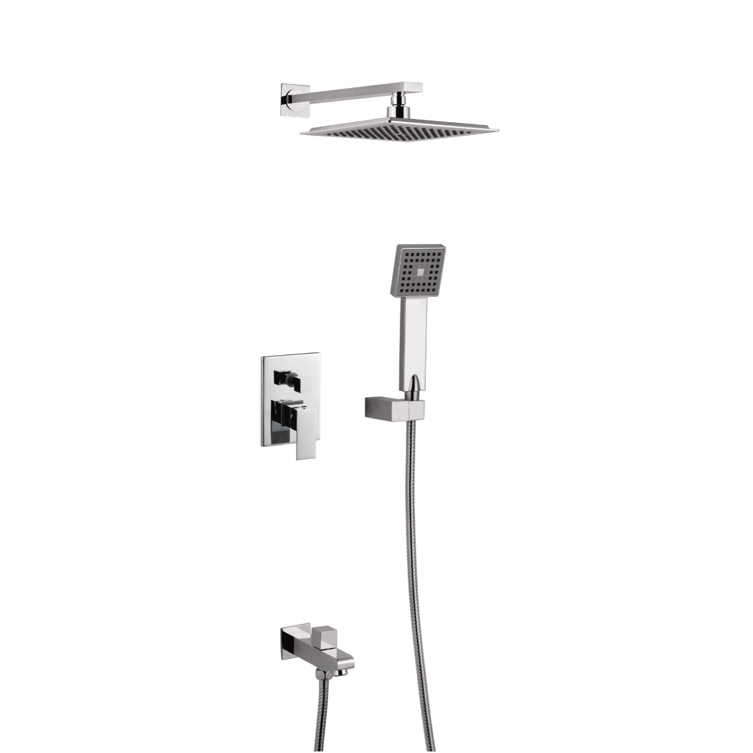 Hot Item Bathroom Luxury Rain Mixer Shower Combo Set Wall Mounted Rainfall Shower Head System Polished Chrome Contain Shower Faucet Rough In Valve