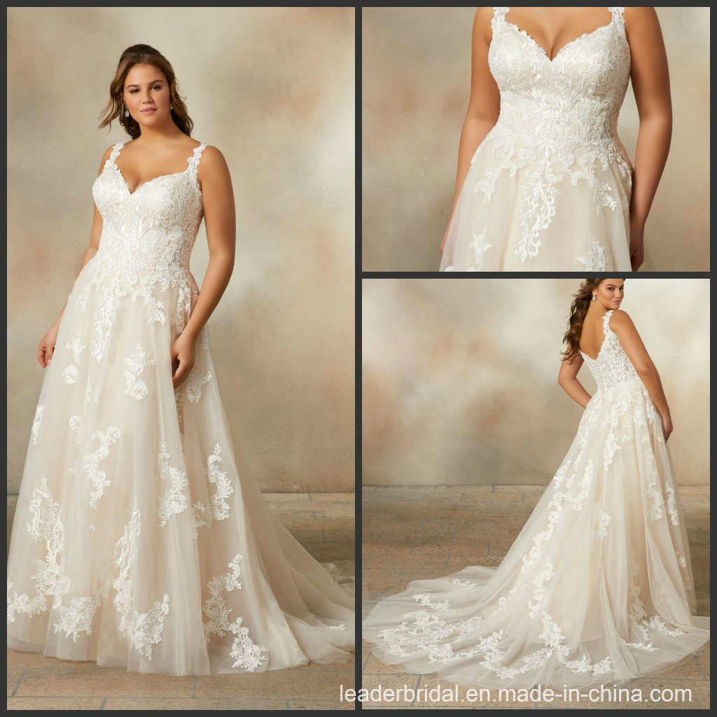 China 2019 Lace Bridal Gowns Plus Size Tulle A-Line Wedding ...