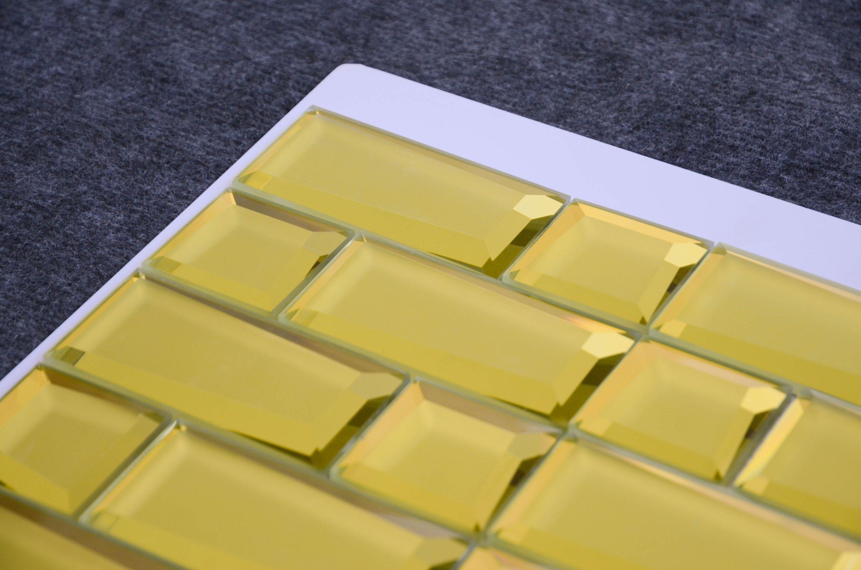 China Square Shaped Laminated Yellow Glass Wall Decoration Gold ...