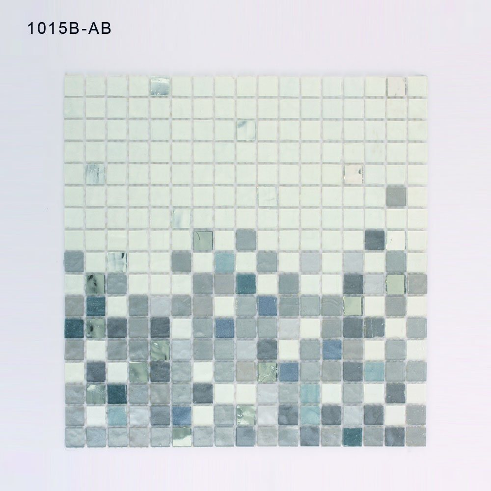 China White and Grey Square Bathroom Wall Stained Glass Mosaic Tile ...