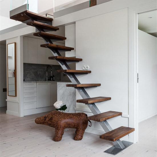 Modern Simple Design Wooden Treads Single Stringer Straight Stairs