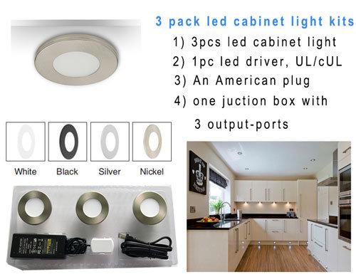 Hot Item Etl Listed Under Cabinet Lighting Ultra Thin 3 Package Led Puck Light Kit 7mm