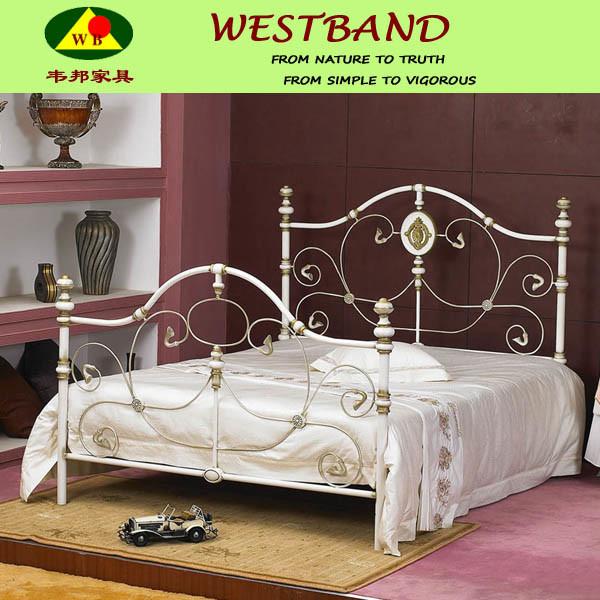 Hot Item Beautiful White Luxury Steel Bed Designs