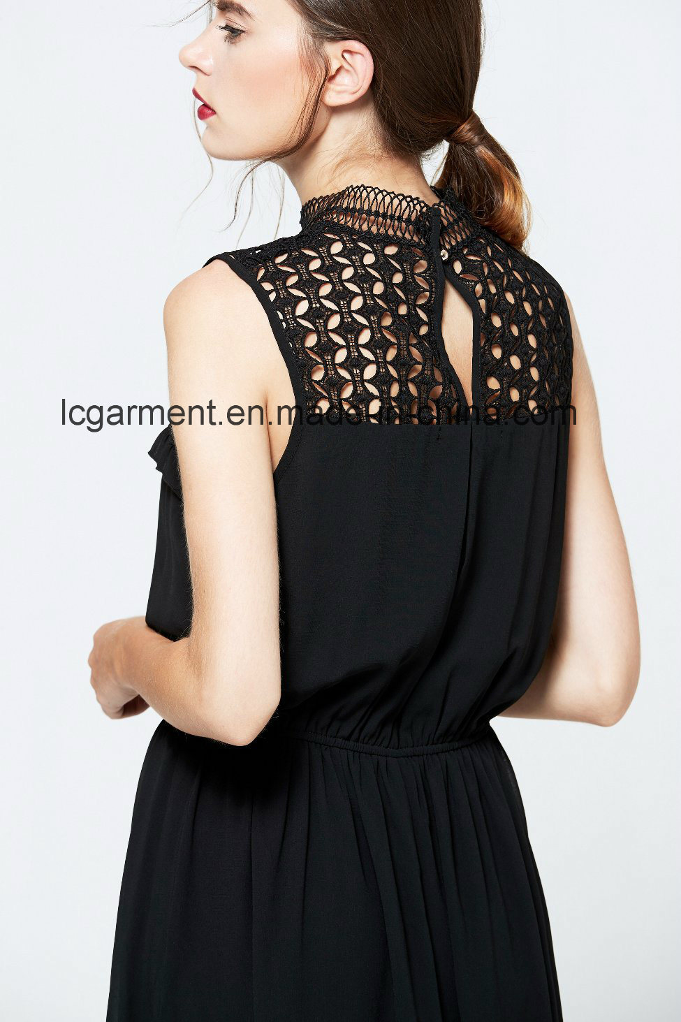 Elegant Black Sexy Lady Dress Beautiful Sleeveless Maxi Summer Dress