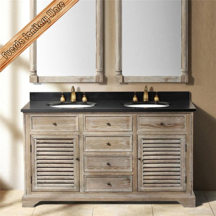 China Fed 1591 Oak Wood Double Sink