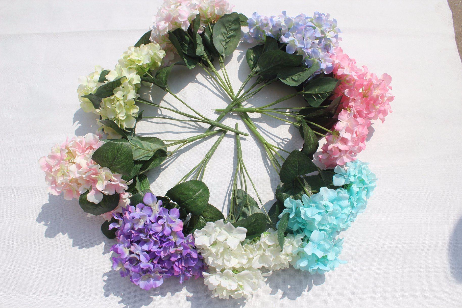 China Silk Artificial Hydrangea Flowers For Home Decor Wedding