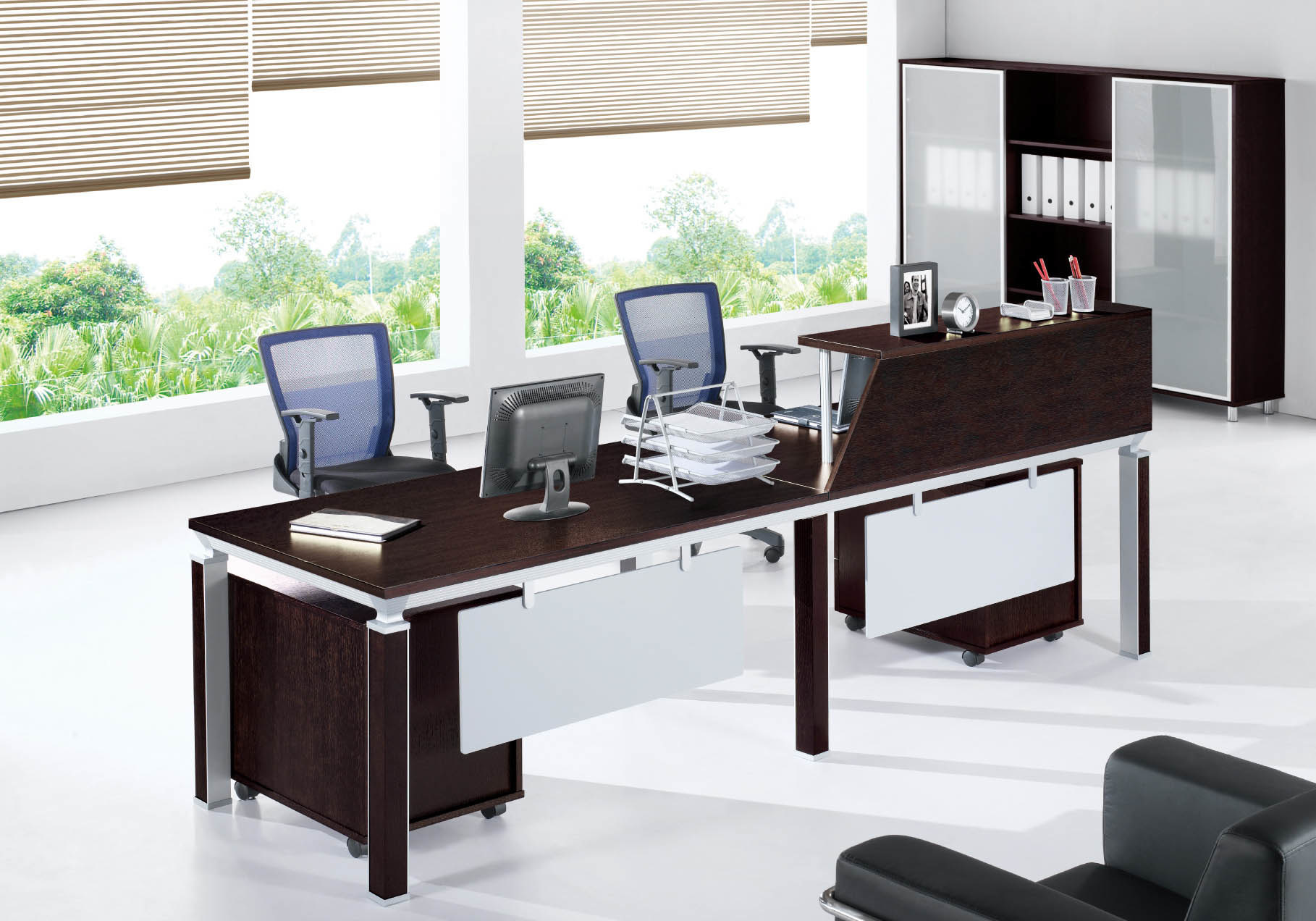 China Modern Office Straight Computer Table Front Reception Desk Furniture