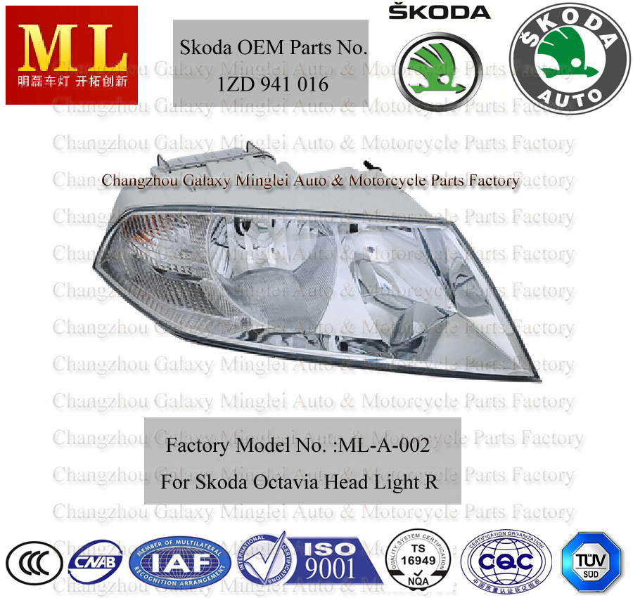 High Quality OEM Auto Parts with Head Lamp for Skoda Octavia From 2004 (OEM Parts No.: 1ZD 941 016)