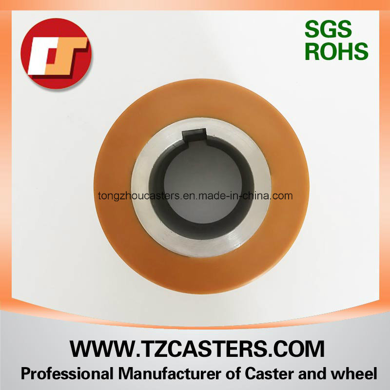 V Groove PU Wheel with Steel Center with Keyway