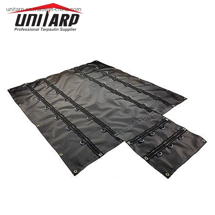 High Denier 8′ Drop 18oz (610GSM) Black PVC Vinyl Truck Lumber Tarps Steel Tarps pictures & photos