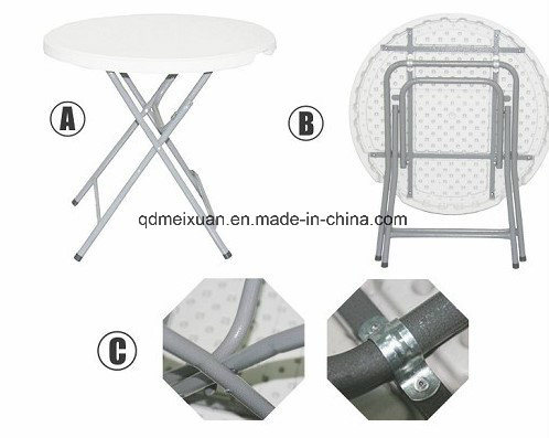 Plastic Folding Table High Outdoor Picnic Green Bar Stand With A Small Round M X3779
