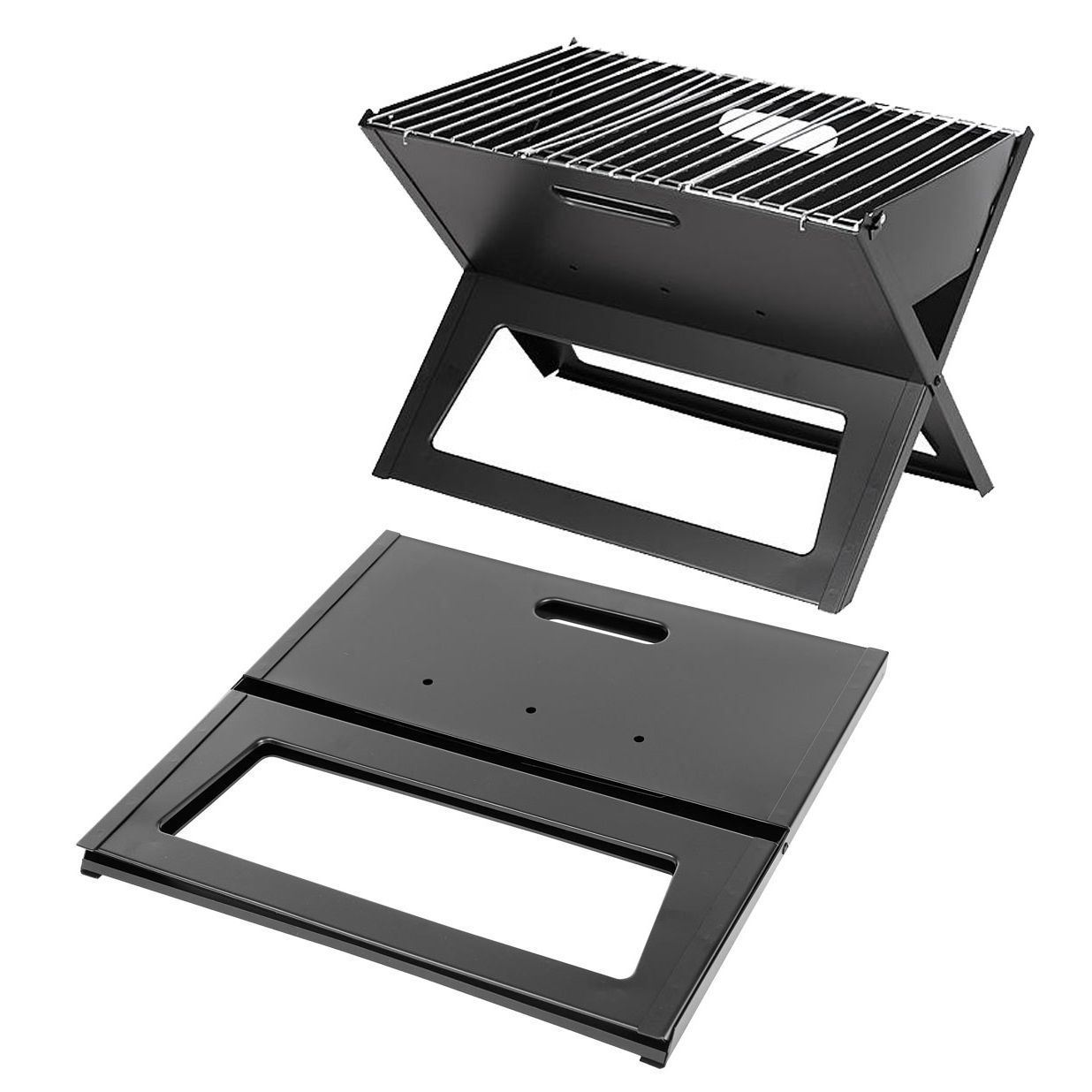 Portable Foldable BBQ Grill Stand Garden Patio Camp Barbeque Charcoal Table Flat