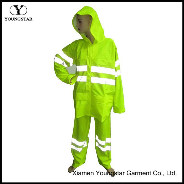 En471 Certificate PU Working Rainsuit / PU Reflective Safety Raincoat