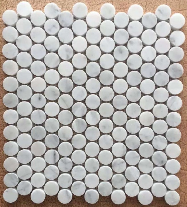 Carrara White Penny Round Mosaic Marble