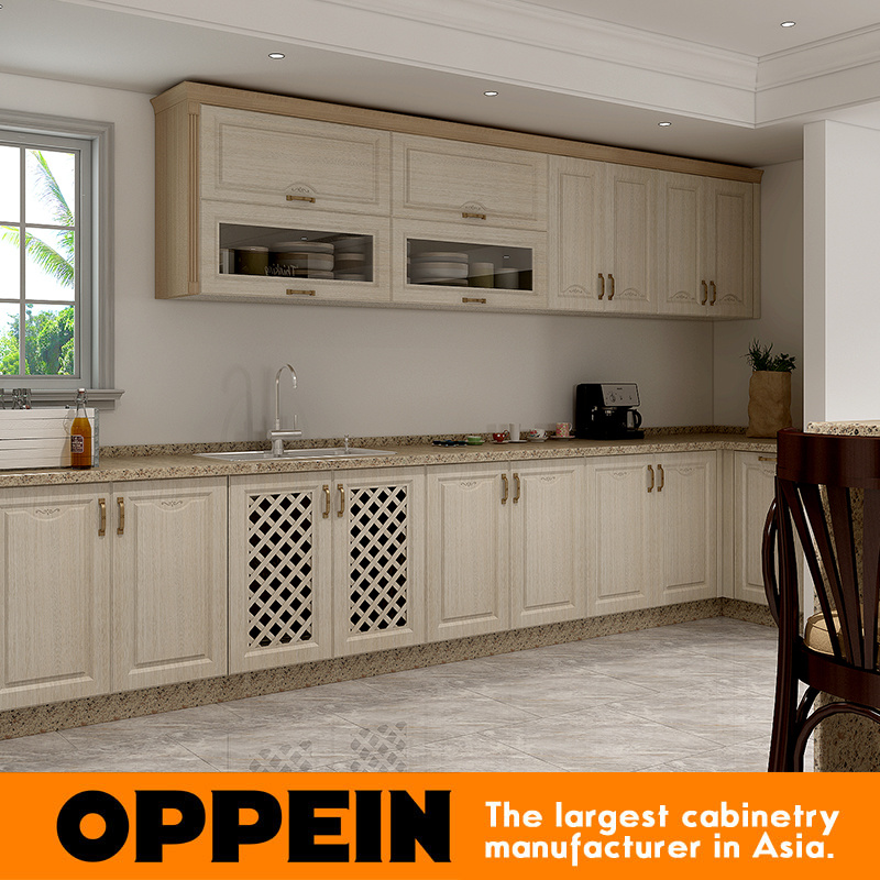 China White And Wood Grain Pvc Membrane Modular Kitchen Cabinet