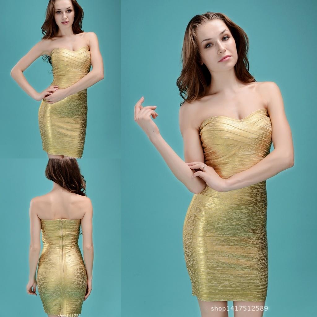 China Wholesale Gold Bandage Dress Celebrity Club Dress Tight ...