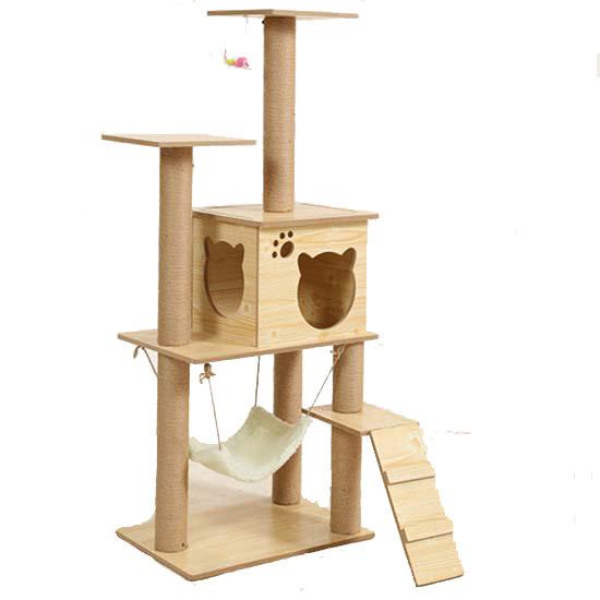 Modern Design Plush Cat Tree Wood Color