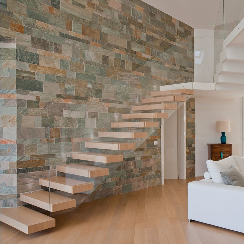 China House Red Oak Tread Stairs Floating Cantilevered Staircase With  Frameless   China Staircase, Cantilevered Staircase