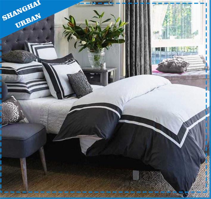 Navy Border Comforter Set, White And Navy Hotel Bedding