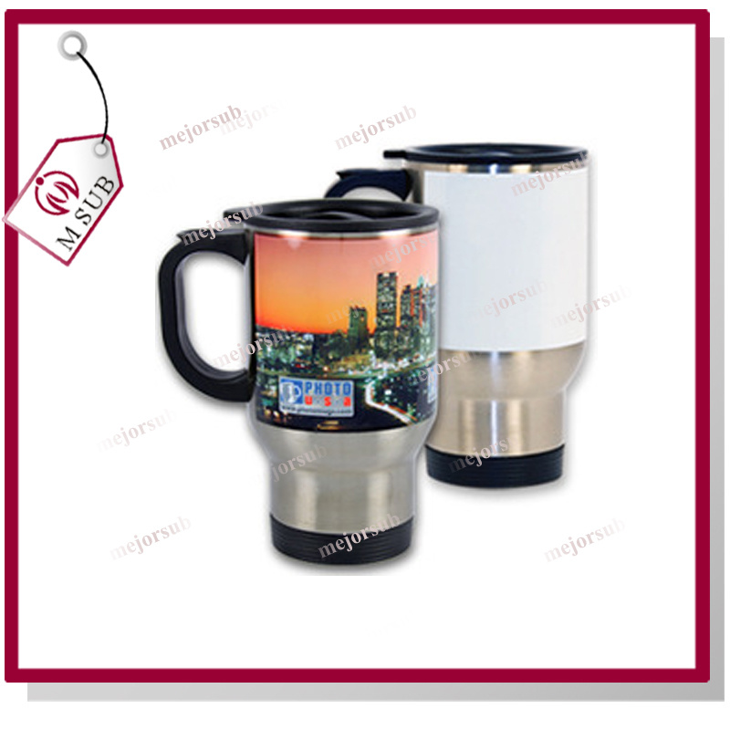 14oz Sliver and White Sublimation Stainless Steel Travel Mug