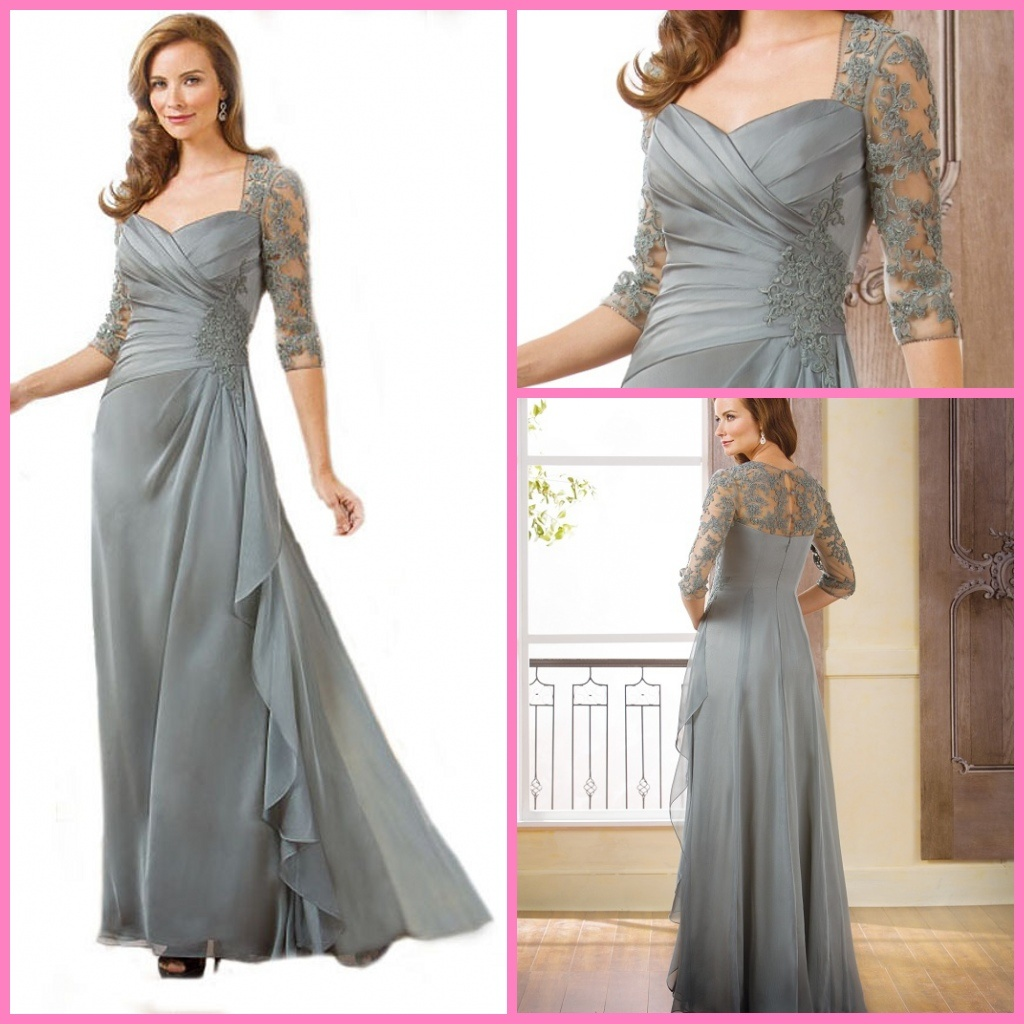 China Silver Lace Formal Gowns 3/4 Sleeves Party Prom Evening ...