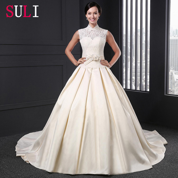 China Champagne High Neck Satin Open Back Lace Wedding Dress Q016 China Wedding Dress And Bridal Gown Price,Non Traditional Wedding Dress Colors