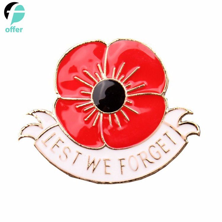 China Memorial Day Remembrance Day Red Poppy Flower Broach Brooch