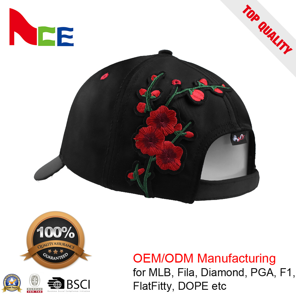 China Custom Flower Embroidery Floral Blank Baseball Cap with Metal Buckle  - China Curved Cap fc4b46d61ad
