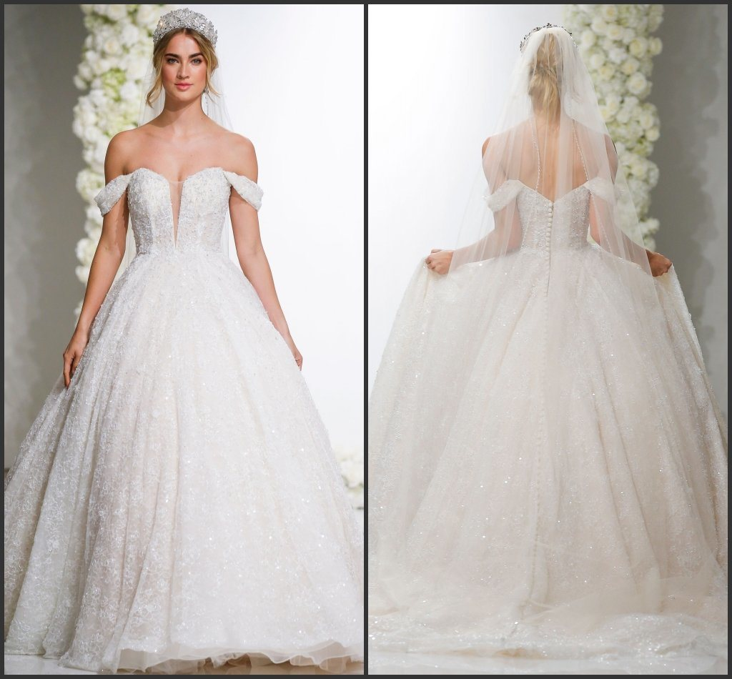 Ball Gown Glittery Lace Puffy Wedding