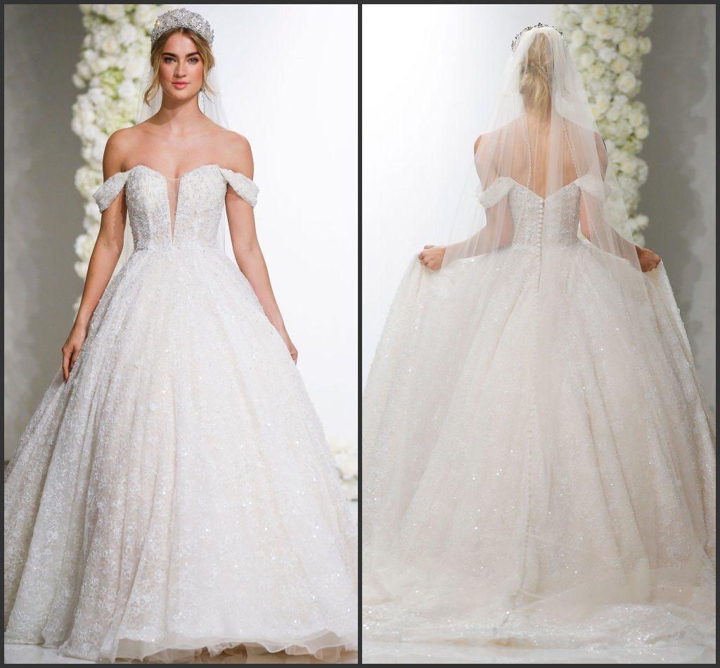 Off Shoulder Wedding Dress.Hot Item Off Shoulder Bridal Ball Gown Glittery Lace Puffy Wedding Dress M8296