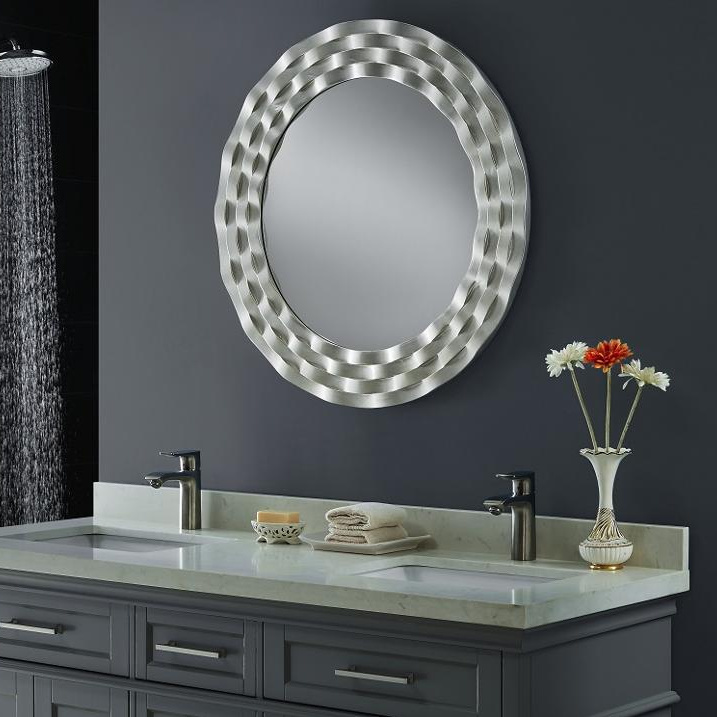 China Large Silver Round Wall Mirror, Venetian Large Round Silver Wall Mirror