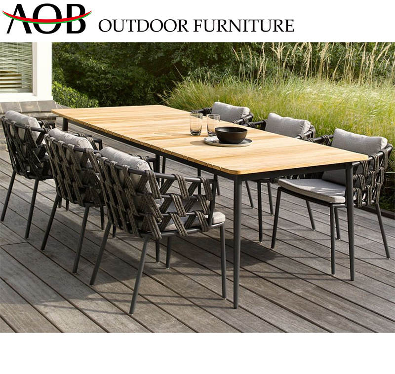 China Modern Outdoor Garden Home Rosort Hotel Restaurant Rope 6 Seater Chair Dining Furniture With Teak Table Chinese Furniture Home Furniture