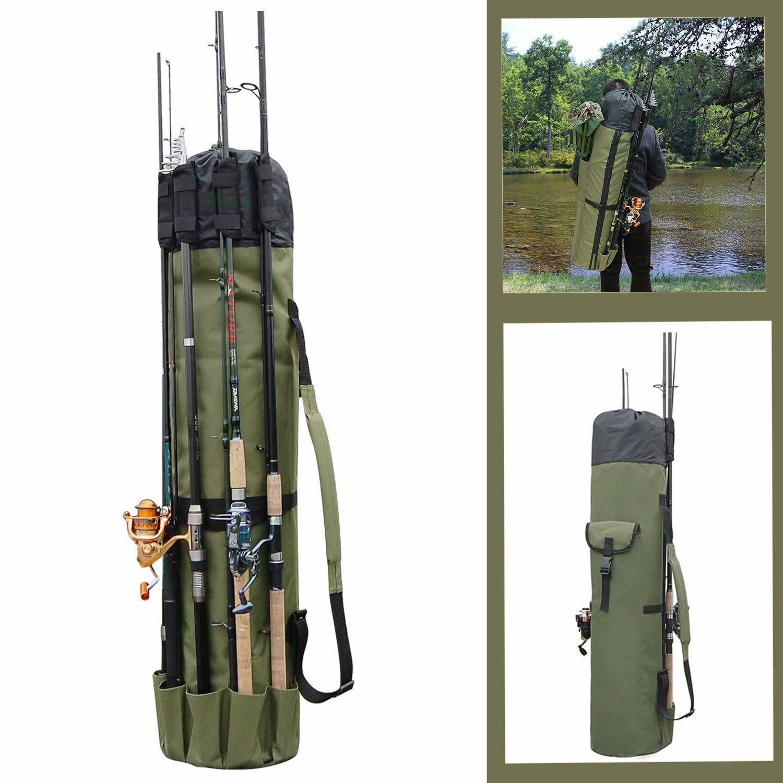 Outdoor Fishing Bag Rod Reel Portable Travel Organizer Tackle Tools Storage Case