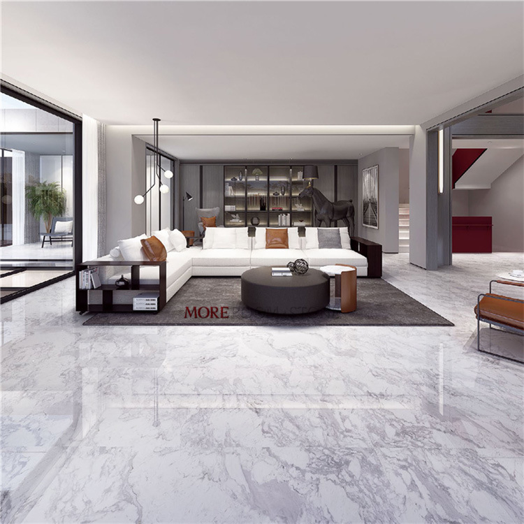 32x32 White Volakas Marble Floor Tiles