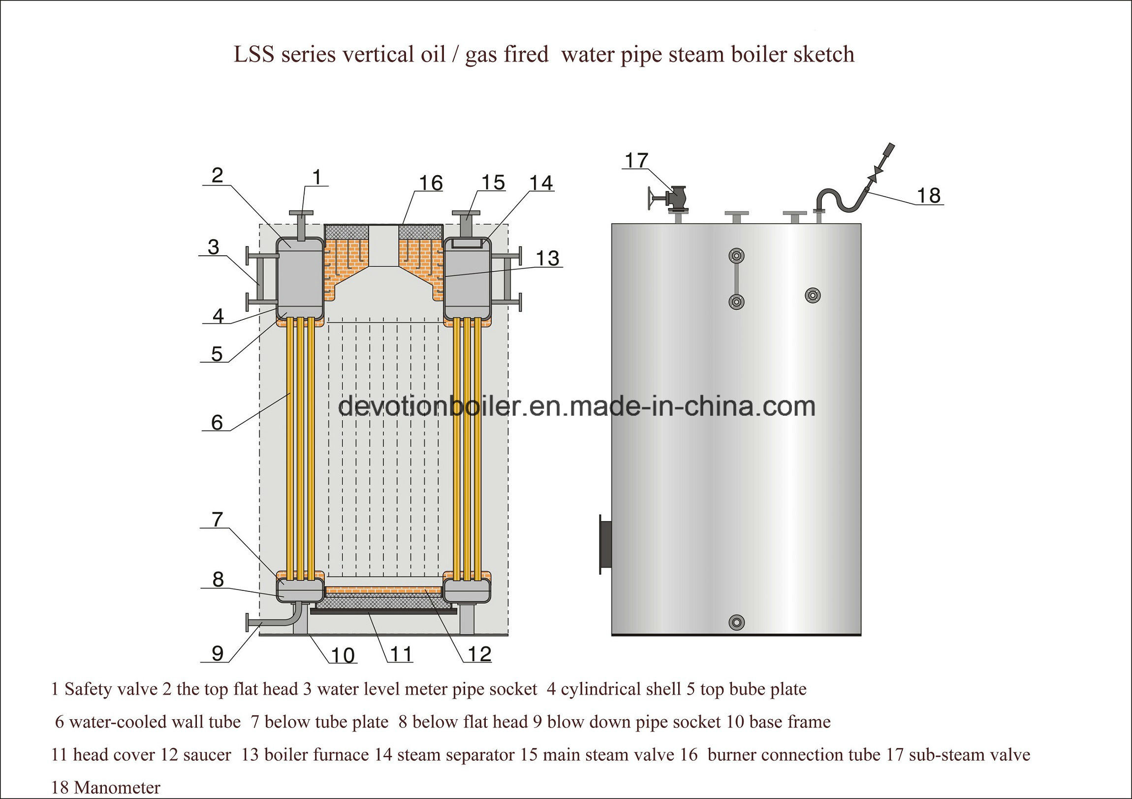China Diesel Gas Dual Fuel 500 Kg H Vertical Steam Generator
