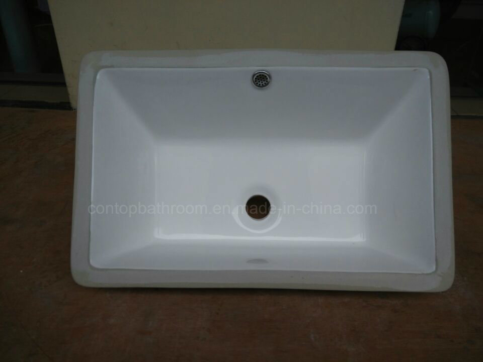 Sanitary Ware Bathroom Under-Mount Basin Square Insert Ceramic Washing Basin pictures & photos