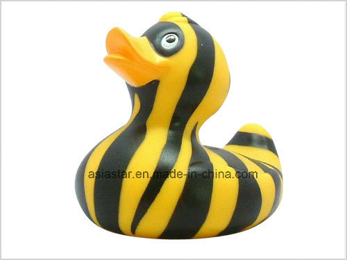 White Vinyl Duck with Orange Stripe