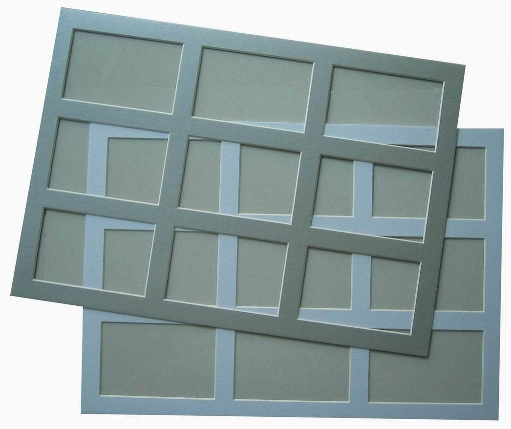 [Hot Item] 9 Opening Frame Mat, Bevel Edge Pre Cut Mount Board for Picture  Frames