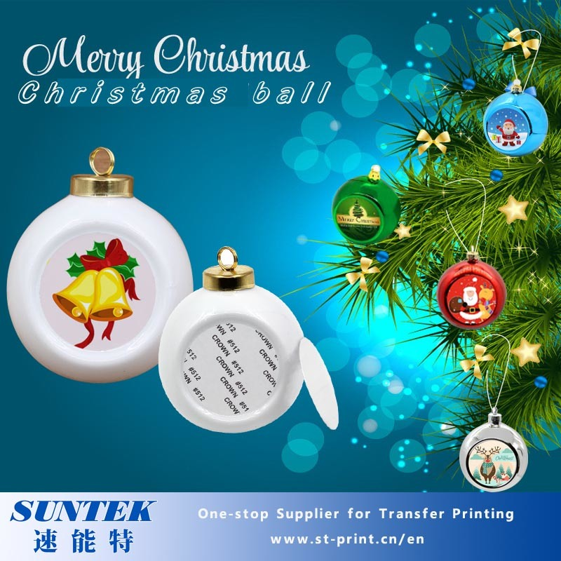 wholesale christmas decoration ceramic sublimation heat exchange ornaments