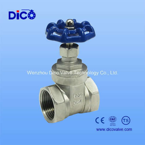 Stainles Steel Thread Gate Valve with Blue Handle Wheel