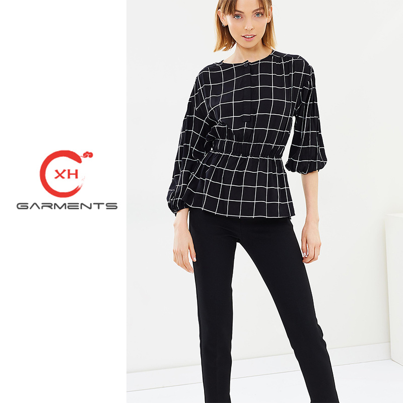 257f285ca5da65 China Xh Garments Mono Check Ladies Long Tops Photos   Pictures ...