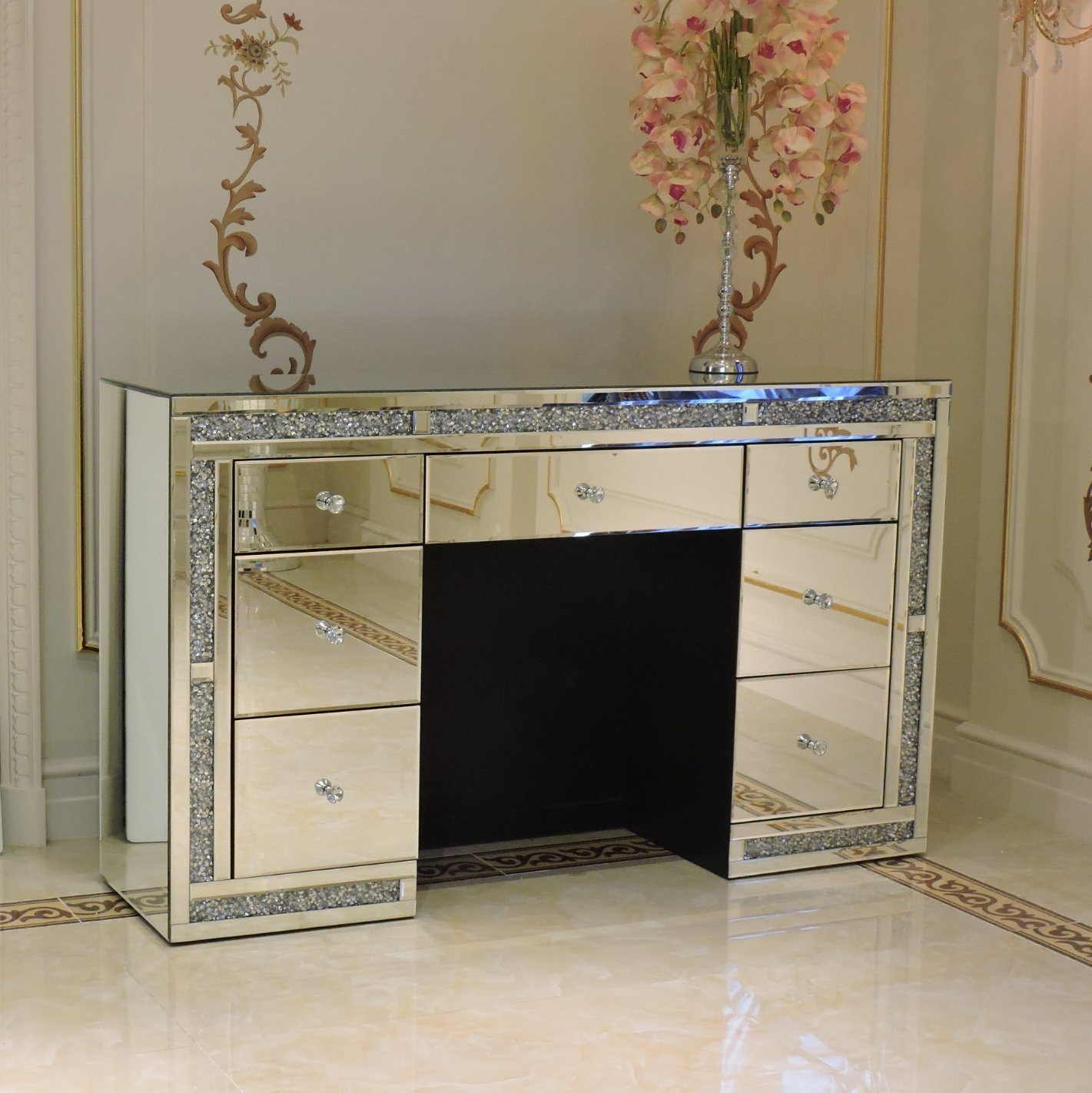 [Hot Item] New Style Mirrored Furniture Dressing Table 12 Drawer Crushed  Diamond Mirrored Dresser