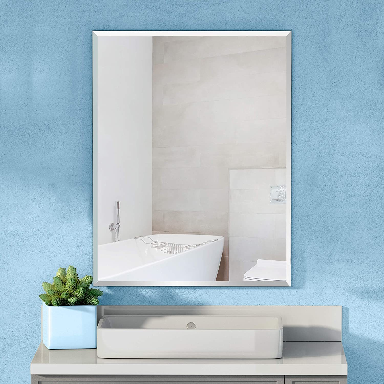 China Round Rectangle Beveled Frameless Wall Mirror For Entrances Bedrooms Washrooms Vanity Mirror Bathroom Mirror Wall Mounted Mirror China Glass Mirror