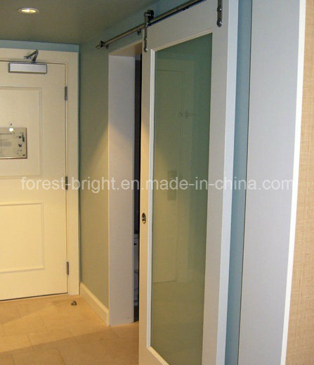 Marriott Hotel White Painted Laminated Glass Sliding Barn Door Style For Bathroom Entry