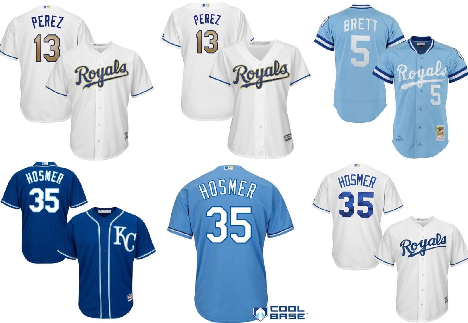 sports shoes ce008 52f30 [Hot Item] Kansas City Royals Salvador Perez George Brett Mitchell Baseball  Jerseys