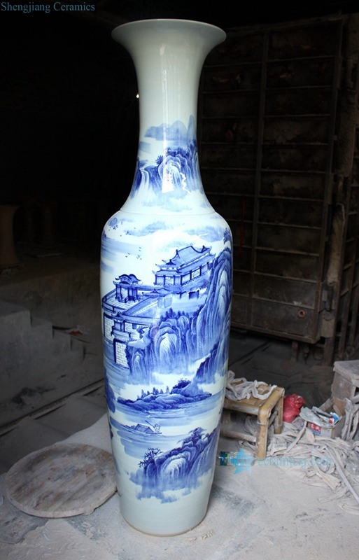 China Ryfj10 Hand Made Factory Outlet Huge Blue And White Ceramic