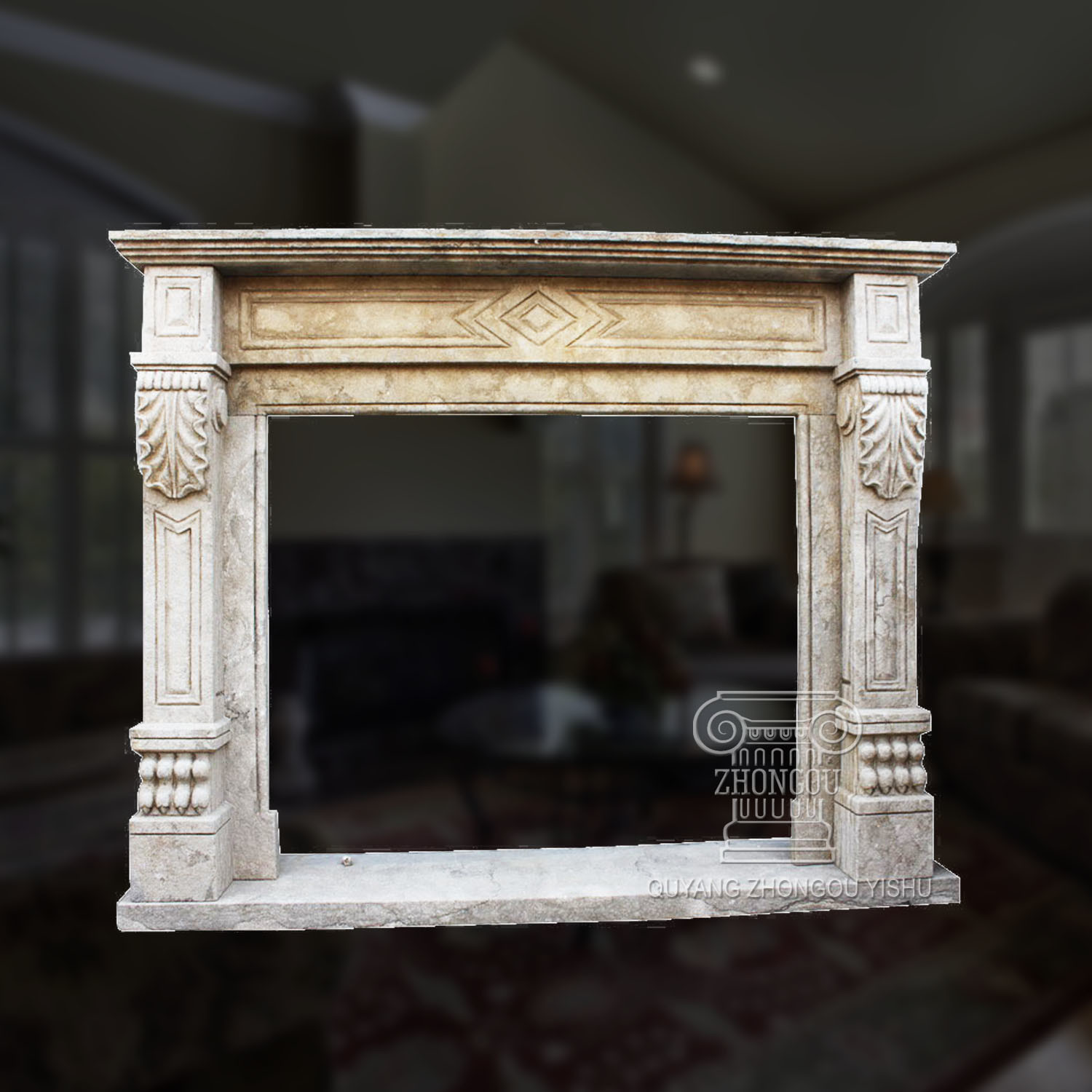 China Stone Carving Simple Fl Design And Good Quality Marble Fireplace Surround Mantel