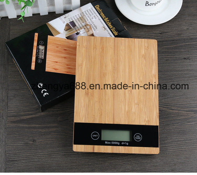 LCD Display and Kitchen Scales Use Household Bamboo Wood Scale pictures & photos