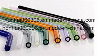 [Hot Item] 180mm 8mm Reusable Bent Glass Drinking Straws with Multi Color -  Green, Orange, Purple, Pink