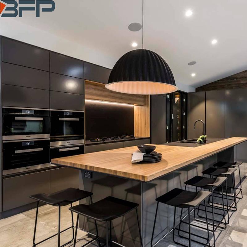 China Australian Style Modern Black Kitchen Cabinets With Island Products